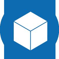 une boite blanche sur un fond rond bleu